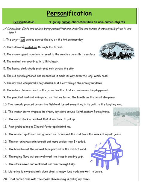 Personification Worksheets by Search Results For Worksheets For 5th Grade Calendar 2015