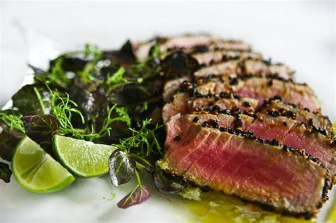 sesame seared tuna with lime ginger vinaigrette steamy kitchen recipes