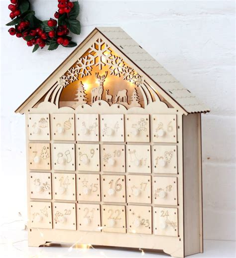 wooden led lit advent calendar advent calendars wooden