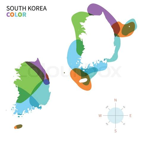 abstract vector color map of south korea with transparent paint effect for colorful