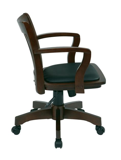 Wood Bankers Chair by Deluxe Wood Banker S Chair With Vinyl Padded Seat In