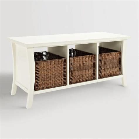 small storage bench with baskets white wood cassia entryway storage bench with baskets