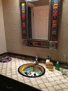 catrina mexican talavera ceramic drop in bathroom sink