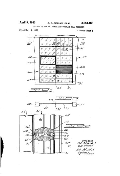 curtain wall assembly patent us3084483 method of sealing panelized curtain