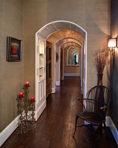 traditional   twist arched hallway  private rooms