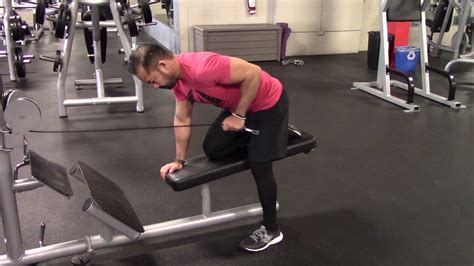 bench tricep extension bench supported bent over cable tricep extension youtube