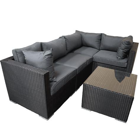 4 piece l set rattan furniture black l shape 5 piece corner set