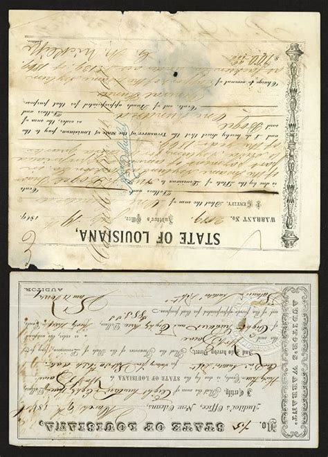 State Of Indiana Tax Warrant Search State Of Louisiana Auditor S Warrants 1868 1869