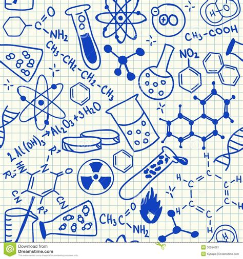 chemical doodles seamless pattern stock image image