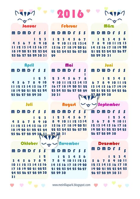 Calendario Kawaii Free Printable 2016 Kawaii Calendar Ausdruckbarer