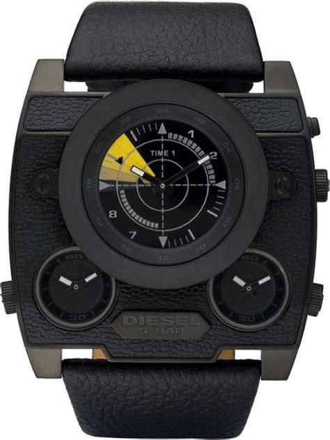 diesel large square chronograph   black  men lyst
