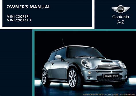 Mini Cooper 2003 Owner S Manual Pdf Online Download