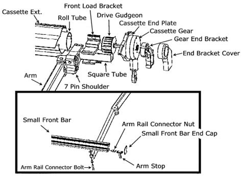 Patio Awning Parts by Retractable Patio Awnings Schematic Drawings