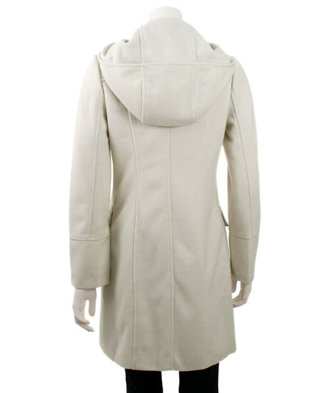 Hooded Button Coat monoreno hooded toggle button coat white