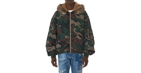 Hooded Camo Bomber Jacket lyst yeezy camouflage hooded bomber jacket in green for