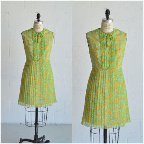Print Sleeveless A Line Midi Dress 1960s green floral print dress 183 vintage sleeveless dress
