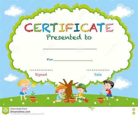 certificate template with kids planting trees stock vector