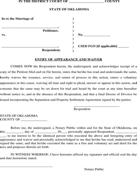 Recommendation Letter For Hotel Employee Free Oklahoma Entry Of Appearance And Waiver Form For Doc