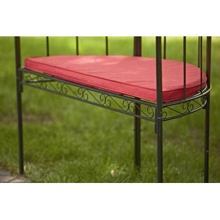 metal arbor with bench essential garden metal arbor with bench and red cushion