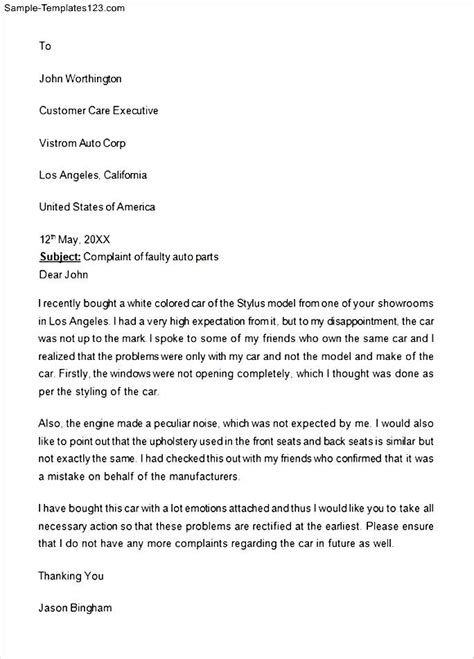 Free Sle Complaint Letter Against Manager Free Sle Complaint Letter Against Supervisor