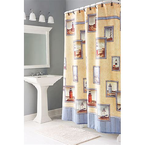 light house shower curtain painterly lighthouse shower curtains bath walmart com