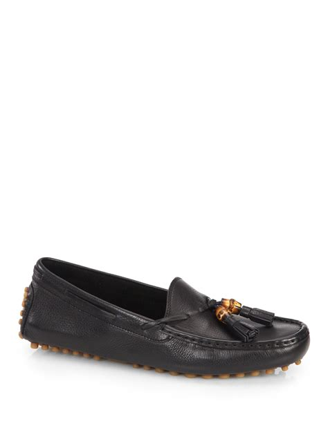 gucci driver loafers gucci leather tassel driving loafers in black for