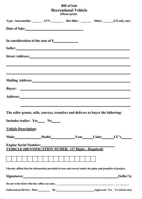 Free Massachusetts Recreational Vehicle Bill Of Sale Form Download Pdf Word Bill Of Sale Template Ma