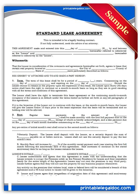 standard lease agreements free printable standard lease agreement form generic