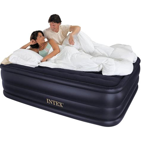 intex queen  raised downy airbed mattress  built