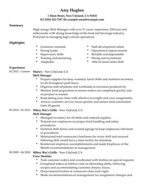 Shift Leader Resume by Shift Manager Resume Exles Food Restaurant Resume Exles Livecareer
