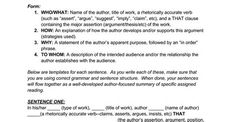 Rhetorical Precis Outline by Rhetorical Precis Template Docs
