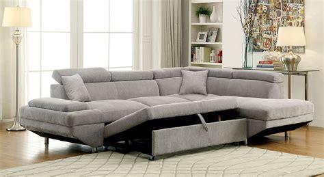 grey sleeper sofa sectional furniture of america 6124gy gray modern sleeper sectional sofa