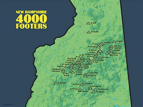 Home Decor Daily Deals by New Hampshire White Mountain 4000 Footers Map 18x24 Poster