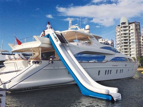 big boat with slide water toys luxury yacht charter superyacht news