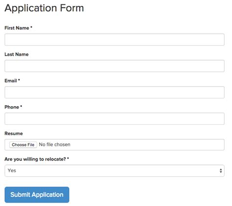 candidate application form template recruiterbox help