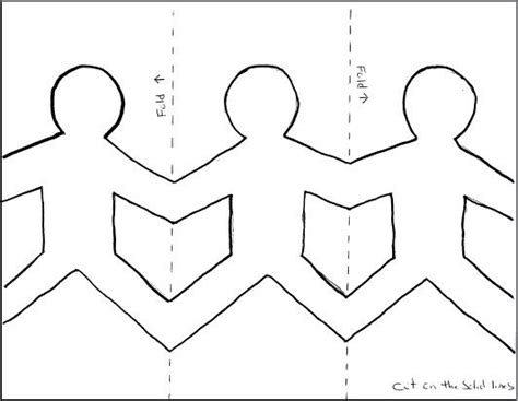 Paper Dolls Chain - paper dolls holding template search clw