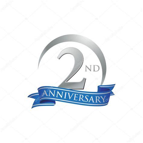 2nd anniversary ring logo blue ribbon stock vector