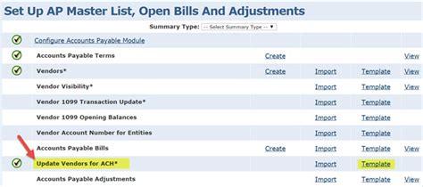 Accounts Payable Setting Up Ach With Intacct Cla Cliftonlarsonallen Accounts Payable Checklist Template