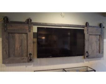 Barn Door Tv Cover Items Similar To Custom Made Barn Door Headboard With Barn Door Track Hardware And