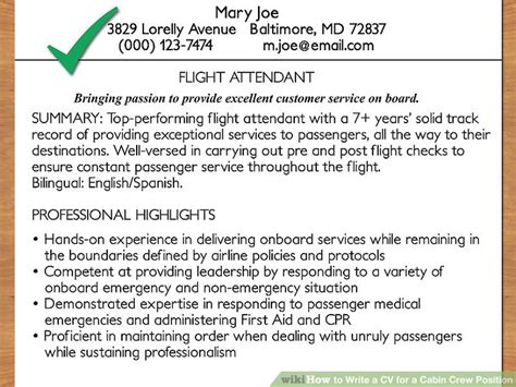 for cabin crew how to write a cv for a cabin crew position with pictures