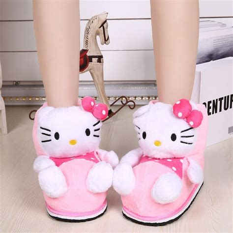 hello kitty house shoes ladies fashion cartoon plush thermal house shoes sweet hello kitty slippers stuffed