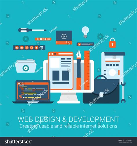 html design tool free modern flat design concept webdesign development stock