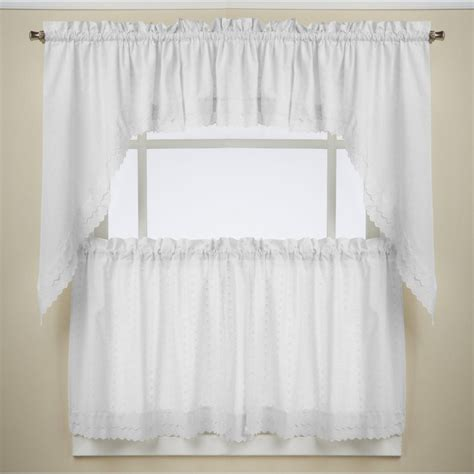 ribbon eyelet white kitchen curtains altmeyer s bedbathhome