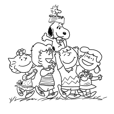 merry christmas charlie brown coloring pages charlie brown and merry gang coloring pages for kids