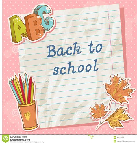 school card ideas back to school card on paper sheet with study item royalty