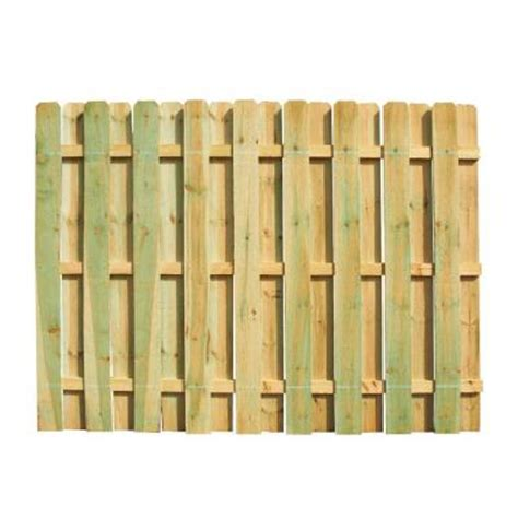6 ft. h x 8 ft. w pressure treated pine shadowbox fence