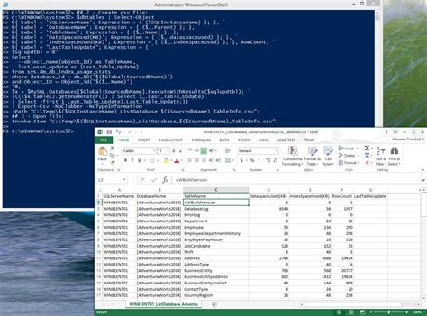 powershell format csv as table powershell using smo to get sql database table information