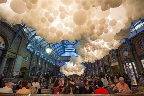 cloud   illuminated balloons suspended