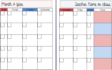 printable calendar without weekends a teacher s plan templates