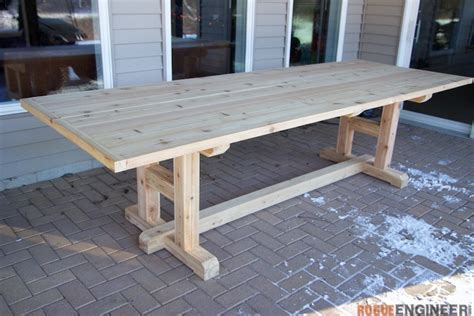 Diy Patio Table Plans H Leg Dining Table 187 Rogue Engineer